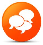 Comments icon orange round button. Comments icon isolated on orange round button abstract illustration Stock Images
