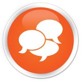 Comments icon premium orange round button. Comments icon isolated on premium orange round button abstract illustration Royalty Free Stock Photos