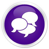 Comments icon premium purple round button. Comments icon isolated on premium purple round button abstract illustration Royalty Free Stock Photos