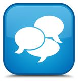 Comments icon special cyan blue square button Royalty Free Stock Images