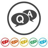 Comments icon, Question answer sign icon, 6 Colors Included. Simple vector icons set vector illustration