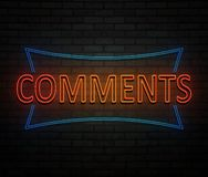 Comments neon concept. stock photo
