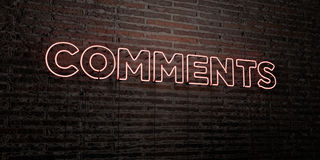 COMMENTS -Realistic Neon Sign on Brick Wall background - 3D rendered royalty free stock image Royalty Free Stock Images