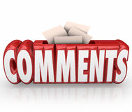 Comments Submit Ideas Suggestion Word Box Feedback Reviews Stock Photo