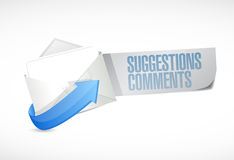 Comments and suggestions email sign illustration. Design over a white background Royalty Free Stock Photo