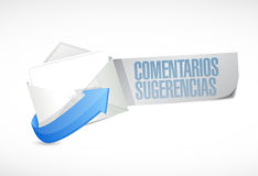 Comments and suggestions in spanish email sign Stock Images