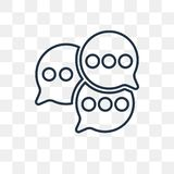 Comments vector icon isolated on transparent background, linear stock illustration