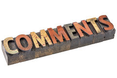 Comments word in letterpress wood type Royalty Free Stock Photos