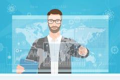 Commerçant barbu d'homme touchant l'écran d'ordinateur tandis que la lecture rapide des forex diagrams et l'illustration de vecte illustration stock