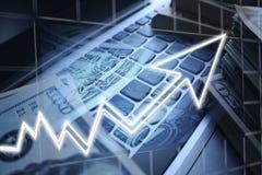 Commerçant de jour Profits With Cash rendu sur le clavier de haute qualité photos libres de droits