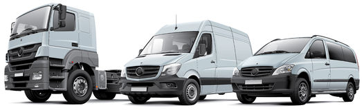 Commercail vehicles. High quality photorealistic illustration of tree white European commercial vehicles - large freight vehicle, full-size delivery van and royalty free illustration