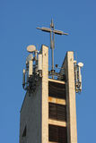 Commercal transmitter on the church tower Royalty Free Stock Image