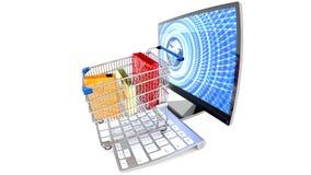Commerce électronique, achats numériques, dépensant l'argent en ligne, nouvelle ère du consommateur illustration stock