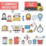 Commerce électronique, ensemble d'icône de la livraison Photos libres de droits