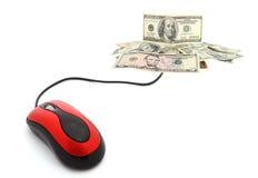 Commerce électronique - souris et argent d'ordinateur Photo stock