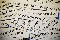 Commerce. Words related with business. Cut-out of words related with business activity royalty free stock photo