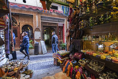 Commerce of Arab products in the called street of the tearooms,V Royalty Free Stock Photos
