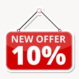 Commerce concept, New offer 10%, red sign sticker. Vector icon royalty free illustration