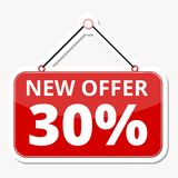 Commerce concept, New offer 30%, red sign sticker Stock Images