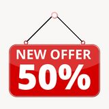 Commerce concept, New offer 50%, red sign sticker. Vector icon Royalty Free Stock Images