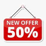 Commerce concept, New offer 50%, red sign sticker. Vector icon Royalty Free Stock Photos