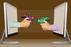 Commerce concept, two hands from laptops. game pad and game pad. 3d illustration royalty free illustration