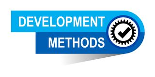 Develolpment methods banner. Commerce concept web banner icon on isolated white background - vector eps illustration Stock Photography