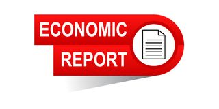 Economic report banner. Commerce concept web banner icon on isolated white background - vector eps illustration Royalty Free Stock Image