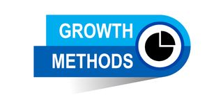 Growth methods banner. Commerce concept web banner icon on isolated white background - vector eps illustration Royalty Free Stock Photo