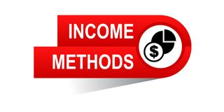 Income methods banner. Commerce concept web banner icon on isolated white background - vector eps illustration Royalty Free Stock Photos