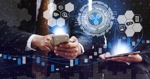 Commerce de Cryptocurrency et de blockchain et concept d'investissement illustration stock