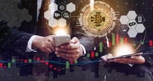 Commerce de Cryptocurrency et de blockchain et concept d'investissement illustration libre de droits