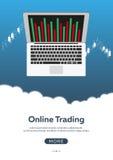 Commerce de forex d'affiche Forex en ligne, commerce en ligne Analyse de marché boursier, finances Illustration plate de style Images stock