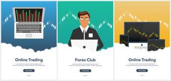 Commerce de forex d'affiche Forex en ligne, commerce en ligne Analyse de marché boursier, finances Illustration plate de style Image libre de droits