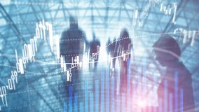 Commerce de forex, march? financier, concept d'investissement sur le fond de centre d'affaires image libre de droits