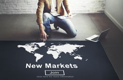 Commerce de marchés vendant le concept de vente d'affaires globales image stock
