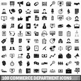 100 commerce department icons set, simple style. 100 commerce department icons set in simple style for any design vector illustration Stock Photography