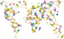 Commerce global de pilules de pharmaceutiques illustration stock