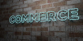 COMMERCE - Glowing Neon Sign on stonework wall - 3D rendered royalty free stock illustration Royalty Free Stock Photos