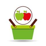 Commerce green basket tasty apple Royalty Free Stock Images