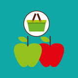 Commerce green basket tasty apple Royalty Free Stock Image