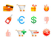 Commerce icons. Set of 12 colorful commerce icons Royalty Free Stock Photos