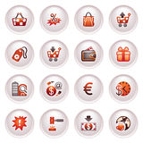 Commerce icons. Black red series. Stock Photography