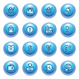 Commerce icons on blue buttons. Royalty Free Stock Image