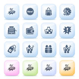 Commerce icons on color buttons. Stock Photo