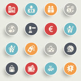 Commerce icons with color buttons on gray background. Stock Images