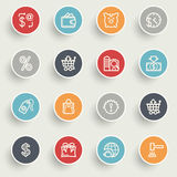 Commerce icons with color buttons on gray background. Stock Photo