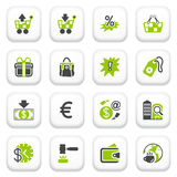 Commerce icons. Green gray series. Royalty Free Stock Images