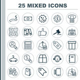 Commerce Icons Set. Collection Of Gavel, Peg, Outgoing Earnings And Other Elements. Also Includes Symbols Such As Royalty Free Stock Images