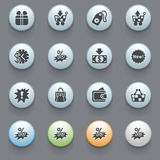 Commerce icons for web site  on gray background. Stock Image